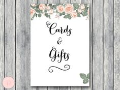 Cards and Gifts Sign Instant Download Printable by BrideandBows