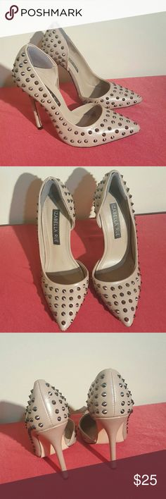 Izabella Rue Vania Studded Pumps This is a pair of size 5.5 pumps from Izabella Rue. One small scuff that can be seen in 4th photo.  Color is taupe.   No trades Izabella Rue Shoes Heels