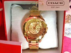 New Coach $248 Gold Tone Mini Boyfriend Bracelet C Dial Link Watch 14501534   eBay