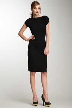 Giorgio Armani Black Ruched Sleeve Dress classic LBD professional office style