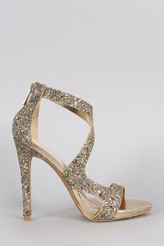 Anne Michelle Strappy Glitter Open Toe Stiletto Heel