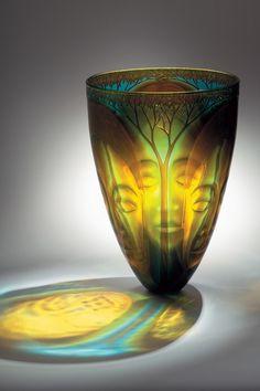 Kevin Gordon, Deep forest, lensed and multi layered glass vase Glass Vessel, Glass Ceramic, Mosaic Glass, Stained Glass, Art Of Glass, My Glass, Vase Cristal, Vases, Glass Design