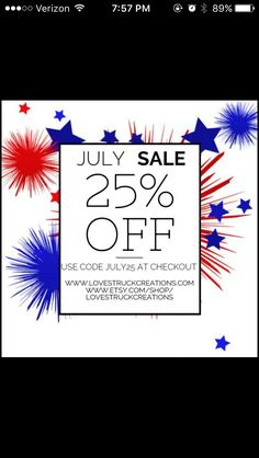 We're kicking off July early with a big sale! Save 25% on any order of $25 or more!!!! That means- our entire store is on sale! Use code JULY25 at checkout. Valid at Etsy & our online shop! www.lovestruckcreations.com Www.etsy.com/op/lovestruckcreations