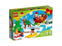 Enjoy festive building fun with your toddler with the LEGO® DUPLO® Winter Holiday set, featuring Santa's sleigh, reindeer figure, fir tree, snowman, sledge and a buildable slope.