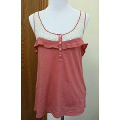 """Anthropologie Eloise top Lacy and tee material in this coral sleeveless top in good used condition. No stains, rips or damage, just some washing wear to the fabric. Still life left in this adorable garment. 17.5 across the bust, 25"""" long. Anthropologie Tops Muscle Tees"""