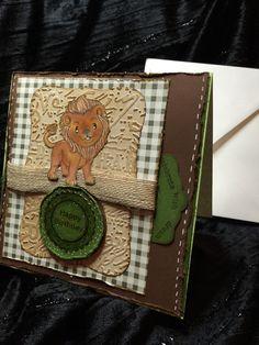Happy birthday card child or toddler lion by buttonsandbottles