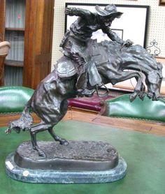 "Frederic Remington ""Bronco Buster"" recast bronze. #wickliffauction"