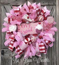 Valentine Wreath, Valentine Decor, Valentine Door, Welcome Sign LOVE Is  Sweet! ❤