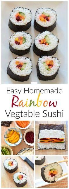 How to make your own rainbow sushi - simple vegetarian sushi idea - perfect for lunch boxes - Eats Amazing UK #rainbow #rainbowfood #sushi #easyrecipe #vegetarian #kidsfood #lunchboxideas #funfood #healthykids