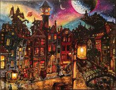 I drew a fantasy world after having a little shroom trip in amsterdam :) Fantasy Town, Fantasy World, Berlin, Artistic Visions, Amsterdam Art, Sisters Art, Tim Beta, Graphic Design Illustration, Art History