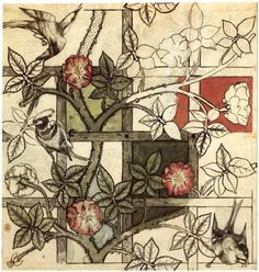 Photo of William Morris' original pencil and watercolor sketch for Trellis (his first wallpaper)