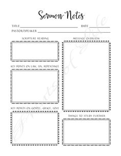 Sermon Notes. PDF printable. Instant download. by PrintsofLife