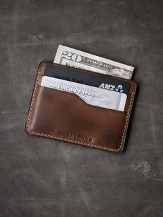 """""""Maddox"""" Russet Vintage Tan Handmade Leather Slim Wallet - Bas and Lokes Slim Leather Wallet, Handmade Leather Wallet, Leather Bifold Wallet, Slim Wallet, Leather Tooling, Cow Leather, Leather Craft, Leather Accessories, Leather Jewelry"""