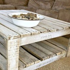 Learn how to whitewash raw wood for a shabby chic finish. Free tutorial with pictures on how to make a coffee table in under 60 minutes by decorating with paint. How To posted by Alida Makes. Steps: 4 - April 13 2019 at Pallet Crafts, Diy Pallet Projects, Pallet Ideas, Furniture Projects, Wood Projects, Diy Furniture, Painted Furniture, Whitewashing Furniture, Antique Furniture