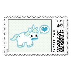 Kawaii pastel turquoise and green baby mustache unicorn postage stamps with love heart.