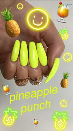 Want some ideas for wedding nail polish designs? This article is a collection of our favorite nail polish designs for your special day. Cute Acrylic Nail Designs, Simple Acrylic Nails, Summer Acrylic Nails, Best Acrylic Nails, Aycrlic Nails, Neon Nails, Bright Nails, Yellow Nails, Nail Swag