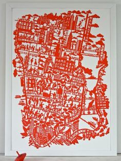 New York City Map Red  Print based on the original hand paper cut Map