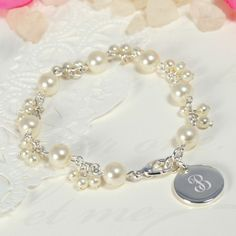 Personalized Pearl Cluster Charm Bracelet | Bridesmaid Gifts