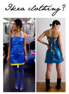 What to do with all those big blue Ikea bags? How about make a dress?
