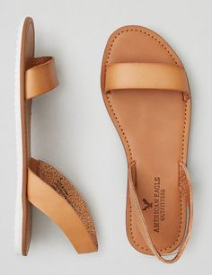 AEO Double Strap Sandal , Natural | American Eagle Outfitters