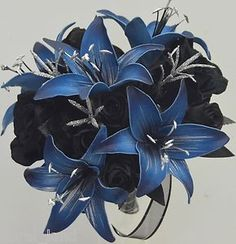 Black+and+Blue+Wedding+flowers | Silk Wedding Bouquet Artificial Flowers Blue Lily Black Rose Silver ...
