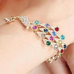 Vintage Colorful Rhinestone Peacock Chain Bangle Bracelet For Women