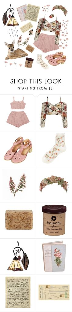 """""""flowers & showers"""" by leafies ❤ liked on Polyvore featuring Topshop, Falke, Her Curious Nature, Pré de Provence, ELK Lighting, Art Classics and Bourjois"""