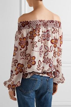 Tory Burch - Indie Off-the-shoulder Printed Silk-georgette Top - Ivory - US