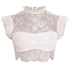 Marla White Lace High Neck Frill Crop Top (€25) ❤ liked on Polyvore featuring tops, crop top, shirts, cropped, flounce crop top, white ruffle shirt, high neck top, white lace shirt and white lace top