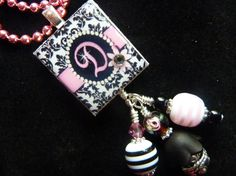 Daisy and Damask Scrabble Tile Pendant Necklace