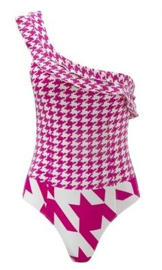 9c8e87db5fe Lola Asymmetrical Pink Houndstooth Swimsuit by Pistol Panties €180 Now €80  at Clickini Hounds