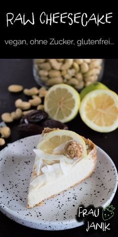 Raw Cheesecake vegan - Vegan World Unique Recipes, Raw Food Recipes, Sweet Recipes, Raw Cheesecake, Cheesecake Recipes, Roh Vegan, Paleo Vegan, Raw Cake, Gluten Free Cakes