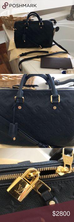 Authentic Louis Vuitton leather speedy Gorgeous Louis Vuitton dark blue leather embossed speedy 30.  Comes with original receipt detachable straps and dust cover Louis Vuitton Bags Satchels