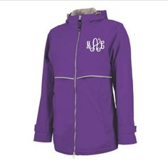 Our New Color rain jackets just arrived. Perfect Purple! www.thepinkmonogram.com