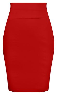 Bow Back Pencil Skirt - Red
