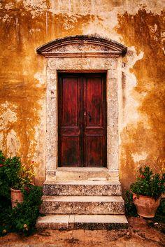 Old Door at Arkadiou Monastery near Rethymnon, Crete, Greece