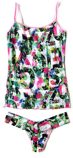 """Hanky Panky """"Trellis"""" Floral Typographic Print Camisole & Low Rise Thong"""