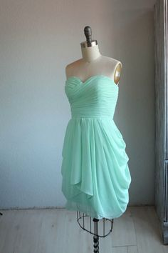 MINT Wedding dress chiffon party dress mint blue by RenzRags @April Shannon