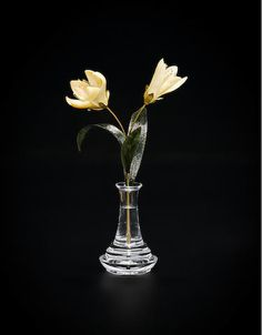 """Carved Agate Flower Study--""""Tulips"""" -  St. Petersburg, Russia - Two six-petaled tulips are carved from natural yellowish-brown agate, with some petals graduating in color towards the tips. Three carved nephrite leaves accent the 18K yellow gold stem which is removable from the optically clear, rock crystal quartz vase, stamped 750. Height 8in"""