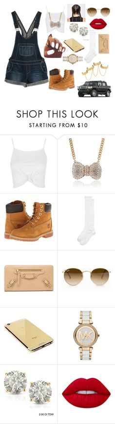"""""""Overalls and Timbs"""" by kelvionne ❤ liked on Polyvore featuring Paige Denim, Topshop, Timberland, Kate Spade, Balenciaga, Ray-Ban, Goldgenie, Michael Kors, Auriya and Ultimate"""
