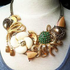 vintage brooch octo bib necklace! Handmade by Vintage Minnow