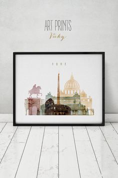 Rome watercolor print, Rome watercolor poster, Wall art, Rome skyline, cities poster, typography art, digital watercolor, ArtPrintsVicky.