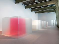 American artist Larry Bell has created a series of huge boxes using translucent and coloured glass, which are designed to evoke the morning fog that rolls in from the coast of California.