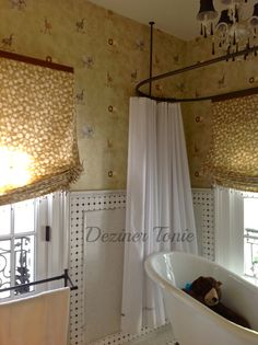 Baby's Bathroom - Jungle Baby, Custom Shades with trim, Wallcovering, custom window treatments