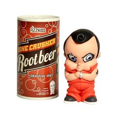 """Meet Bone Crusher Root Beer.  Our boy once lived a life full of joy, always looking forward to being burped and coddled, and always able to bring a smile to the faces of even hardened criminals.  But since """"the incident,"""" that innocence is gone and a timeout won't cut it – because now he's the hardened criminal. Keep a close eye on those purses, ladies. Coddle, Root Beer, Bring It On, Faces, Meet, Joy, Smile, Purses, Drinks"""