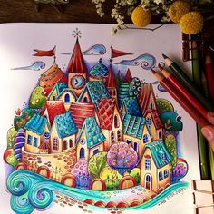 🏡 I love little houses and You? Have a nice week♥️. Cute Doodle Art, Doodle Art Drawing, Illustration Art Drawing, Coloring Book Art, Coloring Pages, Johanna Basford Coloring Book, Indie Art, Anime Drawings Sketches, Doodle Patterns