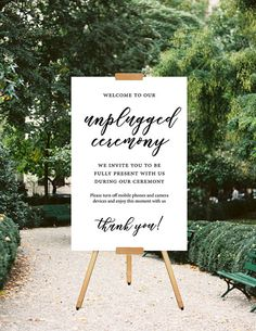 Printable Wedding Sign, Unplugged Wedding Sign, Unplugged Ceremony Sign, Minimalist Wedding Sign, Calligraphy Sign, Modern Ceremony Sign