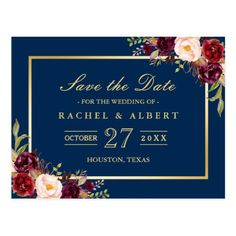 Burgundy Marsala Floral Gold Wedding Save the Date Postcard - click/tap to personalize and buy