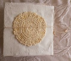 Handmade Shabby Chic Junk Journal with Handmade Parchment Paper in White and Cream on http://www.trehanstreasures.com/