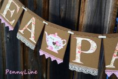 Tea Party Banner Sign, Bridal Shower Garland Handmade, Wall, Table Decoration, Vintage Look - Shabby Chic, Victorian, Classic